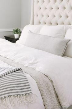 Farmhouse Bedding Skirt - Bedding Master Bedroom Beige - Gray Bedding With Navy Accents - - Shabby Chic Bedding For Sale - Comfy Bedding Grey Master Bedroom Interior, Bedding Master Bedroom, Home Bedroom, Bedroom Furniture, Bedroom Decor, Bedroom Wallpaper, Budget Bedroom, Furniture Makeover, Gray Bedding