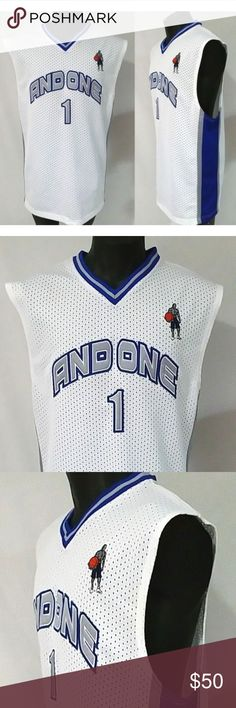 62f14df0e7d NOS Vintage AND1 Basketball Jersey L Vintage And1 And One # 1 Basketball  Jersey - Streetball · Basketball JerseyLarge WhiteTank Top ShirtBlue ...