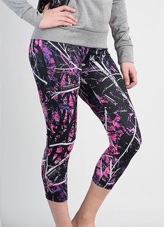 Muddy Girl Camo Women's Yoga Pants Pink Camouflage Leggings