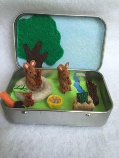 miniature kangaroo in a tin play set  Itty Bitty by MatiesMeadow
