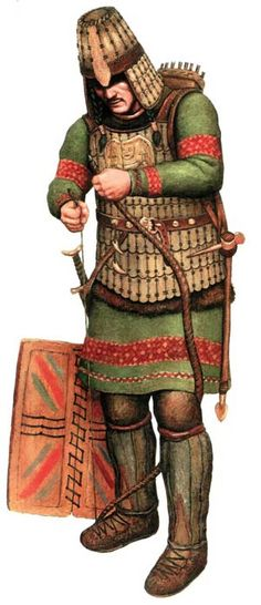 Kulayskaya culture (Кулайская культура), warrior with short armor made of horny plates, VI-III centuries BC