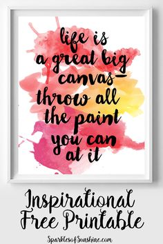 Need some daily inspiration? Frame this inspirational free printable from Sparkles of Sunshine today!
