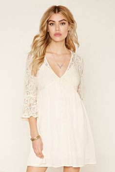 Floral Lace Combo Dress - spring
