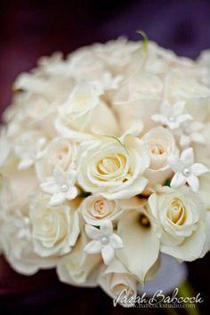 White roses, cala lillies and stephanotis. Photo by Sarah Babcock of Babcock Studio.