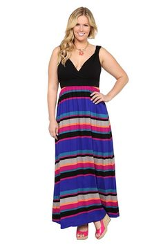 d0f6f73b603 Black And Multicolor Stripe Surplice Maxi Dress