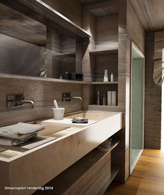 Marco Pieri Rendering & photo, artist, Rendering a Prato Decor, Home, Home Kitchens, Modern Bathroom, Futuristic Furniture, Grey Kitchen Designs, Create Decor, Classy Furniture, Bathroom Design Inspiration