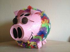 Geldgeschenk - Ausgefallen - grosses Sparschwein - Hawaii Schwein - Kartenbox -