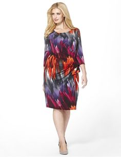 This colorful plus size dress will drape gracefully over your curves. Love the shades! | #Sonsi