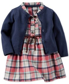 Carter's Baby Girls' 2-Piece Woven Plaid Dress & Cardigan Set - Baby Girl (0-24 months) - Kids & Baby - Macy's