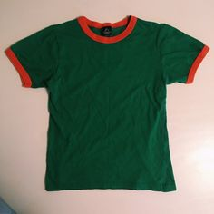 Cropped Alternative Apparel ringer tee Green and orange cropped ringer tee by Alternative apparel...great condition Alternative Apparel Tops Tees - Short Sleeve
