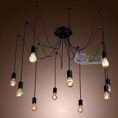 I also like an idea like this and would use LED Edison bulbs.  The whole think would kind or tuck up into the recessed ceiling alcover - $35.79 - Vintage Edison Industrial Style DIY Chandelier Retro Pendant Light Ceiling Lamps #Unbranded #Vintage
