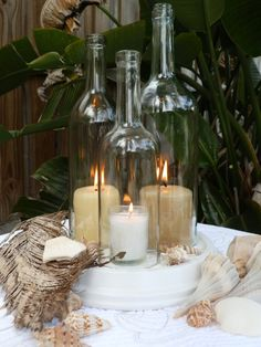 Wedding centerpiece White Triple Wine Bottle Candle Holder Hurricane Lamp