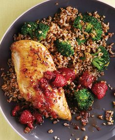 Spicy Raspberry- Balsamic Chicken Breasts with Orange-Broccoli Bulgur - Recipes