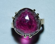 Watermelon Tourmaline 11.7 ct Faceted Gem Crystal 14k Handcrafted Ring
