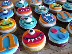 boys 1st birthday little monster cake and cup cakes | Two dozen Vanilla and Red Velvet cupcakes with vanilla buttercream and ...