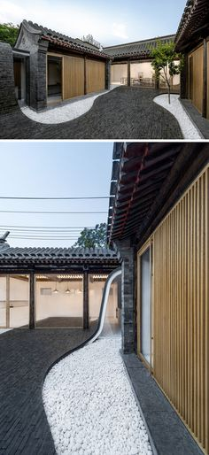 A wave of dark tiles appears to fall from the roof of this urban space, down and through the courtyard. At night the curved path of tiles is lit from beneath, making it safe to walk in the dark.