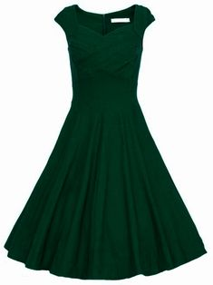 Dark Green Raw Waterfall Underskirt Heart Shape Collar Sleeveless Flare Dress - online at SheIn