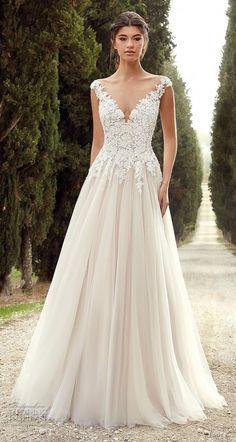 f459caa3044 eddy k 2019 ek cap sleeves v neck heavily embellished bodice romantic a  line wedding dress