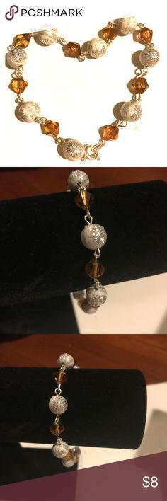 Gold and white handmade bracelet Handmade beaded bracelet Jewelry Bracelets