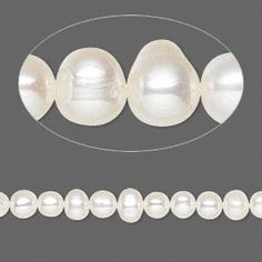 Pearl, White Lotus™, cultured freshwater (bleached), white, 4-4.5mm semi-round, C grade, Mohs hardness 2-1/2 to 4. Sold per 16-inch strand.