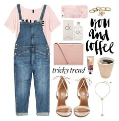 """""""Tricky Trend: Overalls"""" by katerina-rampota ❤ liked on Polyvore featuring H&M, Current/Elliott, Kurt Geiger, Calvin Klein, Aquazzura, The Body Shop, Betsey Johnson and summersandals"""