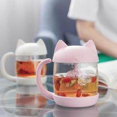 PinkGrey Kawaii Kitty Fish Mug YV2268 - Youvimi