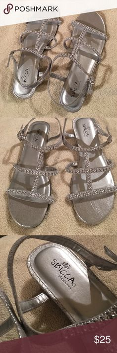 NWT! Sparky silver dress sandals 😍 Brand new! Still have the tags on the bottom (just no original box). Gorgeous silver color with rhinestones all over the straps 😍 adjustable buckle on the side. Sbicca Shoes Sandals