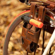 "U-Lock Holster - Rack-Mounted (for 5.5"" x 7.25"" U-Lock)  http://walnutstudiolo.com/collections/bicycle-accessories/products/leather-bike-u-lock-holster-rack-mounted-for-5-5-x-7-25-u-lock"