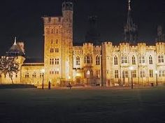 Cardiff Castle at night.
