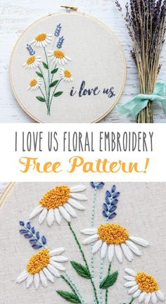 I Love Us Free Floral Embroidery Pattern - perfect for beginner or expert stitchers! This I Love Us Free Floral Embroidery Pattern is so perfect to make for a loved one! It is a great free design for beginner or expert stitchers! Hand Embroidery Patterns Free, Hand Embroidery Videos, Embroidery Stitches Tutorial, Embroidery Flowers Pattern, Paper Embroidery, Embroidery Kits, Simple Embroidery Designs, Embroidered Flowers, Stitching Patterns