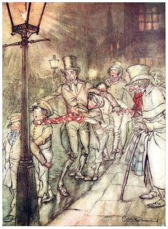 Bob Cratchit went down a slide on Cornhill, at the end of a lane of boys… Arthur Rackham, from A Christmas carol, by Charles Dickens, London, 1915. (Source: archive.org)