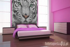 Tiger wallpaper in bedroom by Fototapeta4u.pl, hate the pink, too girlie but if i changed the colors to black white and ice blue