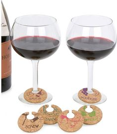 Set Of Six Cork Wine Charms