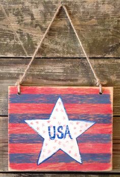 Distressed red white and blue Stars and Stripes USA hanging wood sign Fourth of July decor on Etsy, $26.00