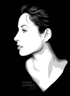 Christy by sergemalivert on DeviantArt Face Pencil Drawing, Pop Art Drawing, Cool Art Drawings, Art Sketches, Pen Sketch, Portrait Illustration, Graphic Illustration, Graphic Art, Pop Art Portraits