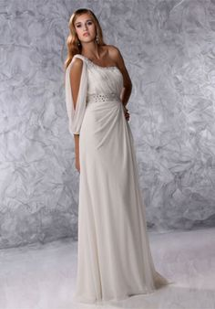 Look Long & Lovely in this rich, Grecian Goddess dress. Gown by Destiny Informal Bridal. Bridesmaid Dresses, Prom Dresses, Formal Dresses, Reception Dresses, Wedding Reception, Wedding Ideas, Wedding Dress Organza, Wedding Gowns, Alfred Angelo Bridal
