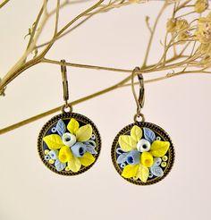 Blue  Yellow  Floral Earrings Gift Romantic от PommeDeNeige