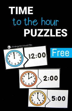 Work on telling time with these fun and free time to the hour puzzles!Work on telling time with these fun and free time to the hour puzzles! Telling Time Activities, Teaching Time, Student Teaching, Math Activities, Math Classroom, Kindergarten Math, Maths, Learn To Tell Time, Time To The Hour