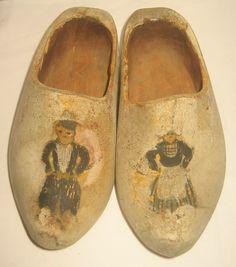 Antique Childrens Child Wood Dutch Shoes