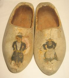 Antique Childrens Child Wood Dutch Shoes