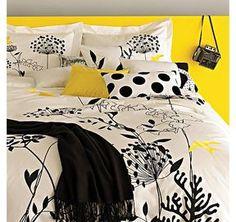 Beautiful Bed Linen Design for Bedroom Accessories, Anis Yellow Duvet Set by Blissliving - Queen Yellow Bedding, Black Bedding, Yellow Pillows, Yellow Headboard, Yellow Fabric, King Duvet Set, Comforter Sets, Gold Comforter, Duvet Bedding