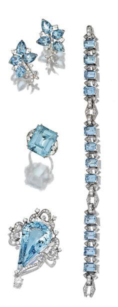 GROUP OF AQUAMARINE AND DIAMOND JEWELRY, CIRCA 1930-1950. #aquamarine #diamond #earring #ring #bracelet #brooch