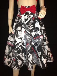Rockabilly High Waist A Line skirt Elvis Marilyn Red Bow XS S M L XL