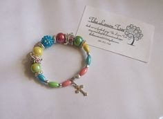 Multicolor beaded bracelet on memory wire by thelemontreeshoppe, $15.00