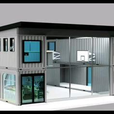 Dwell Containers Sports Court - Design per la casa Container Van House, Cargo Container Homes, Container Shop, Building A Container Home, Storage Container Homes, Container Buildings, Container Architecture, Sustainable Architecture, Container Home Plans