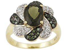 Moldavite 1.57ct Oval With Green And White Diamond .40ctw Round 10k Yellow Gold Ring