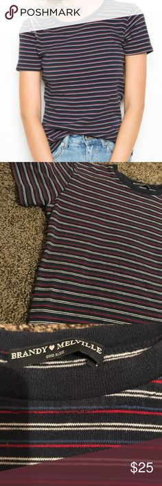 Tee Red, white, and blue striped tee Brandy Melville Tops Tees - Short Sleeve