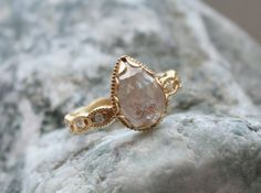 Items similar to Megan Thorne Diamond Ring Engagement Ring cts Total Weight with Pear Shaped Rose Cut Diamond in Yellow Gold - on Etsy Grey Diamond Engagement Ring, Diamond Bar, Rough Diamond, Rose Cut Diamond, Ring Engagement, Diamond Color Scale, Contemporary Jewellery Designers, Colored Diamonds, Jewels