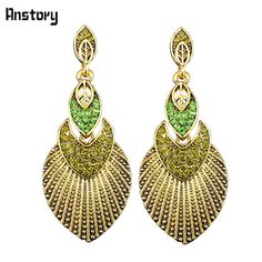 Fashion Jewelry Antique Bronze Plated Delicate Leaf Pendant Crystal Dangle Drop Earrings TE134