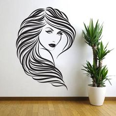 DIY Vinyl Hair Beauty Salon Sexy Girl Wall Decal - Home Decor - marketplacefinds  - 1